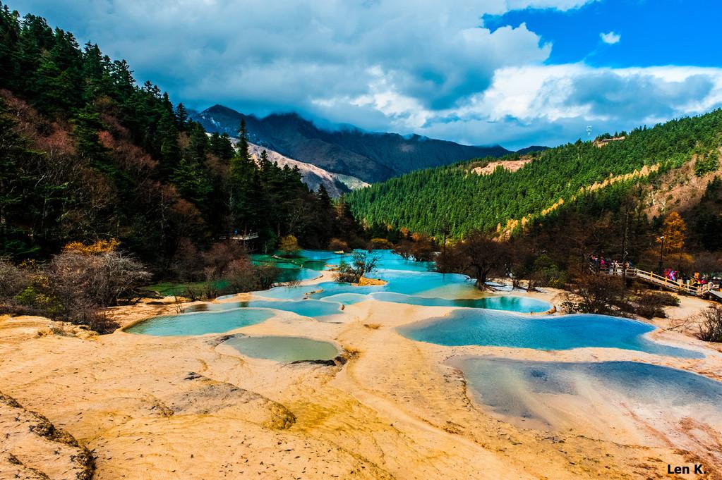 Layered lakes at Jiuzhai Valley