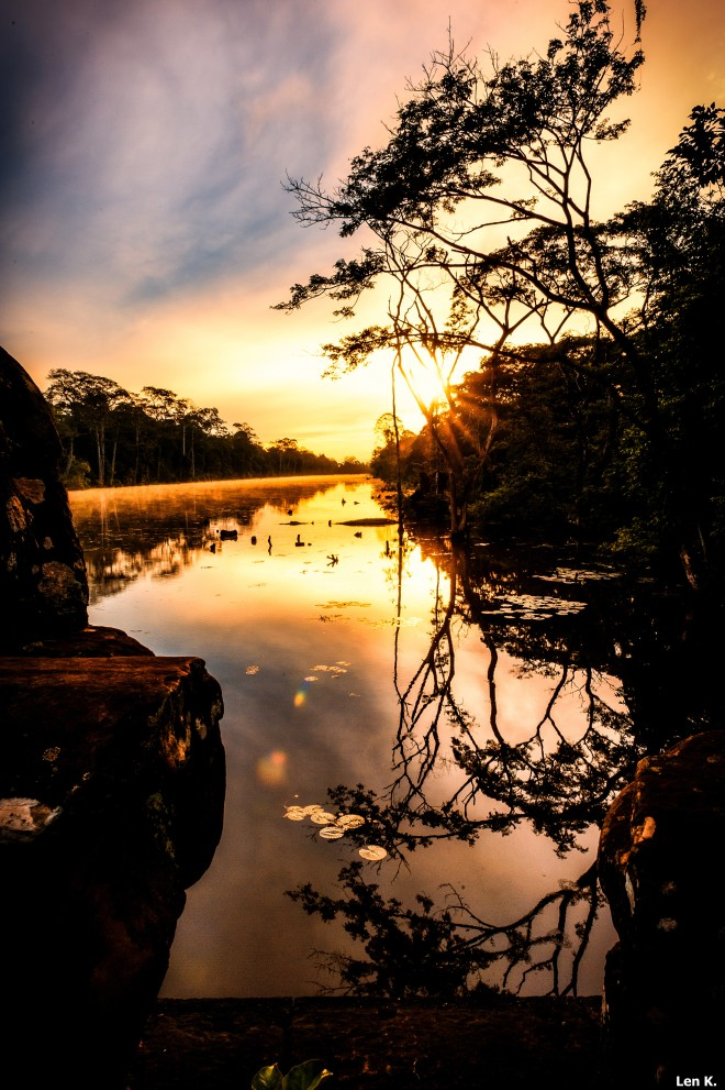 Sunrise on the moat of Angkor Thom
