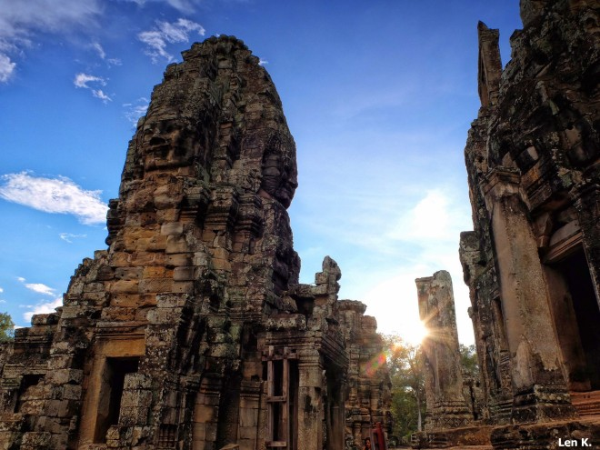 Sunset at Bayon Temple