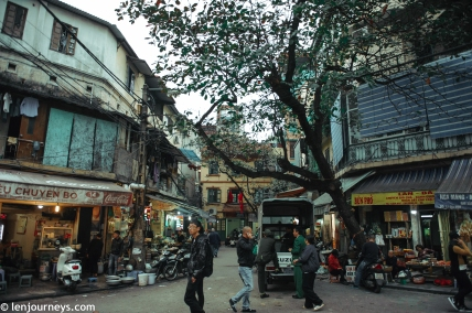 The chaotic streets of Hanoi's Old Quarter. Everything spills out onto pavements.