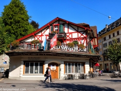 A traditional house covered in red and white - the colour of Switzerland