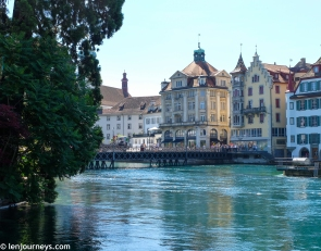 Stunning buildings on the bank of Reuss River