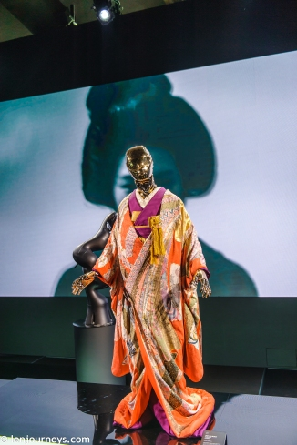 A robot wearing kimono at the exhibition
