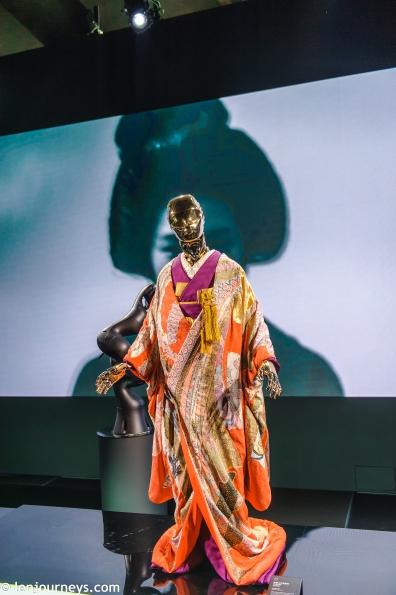 A robot wearing kimono at the exhibition