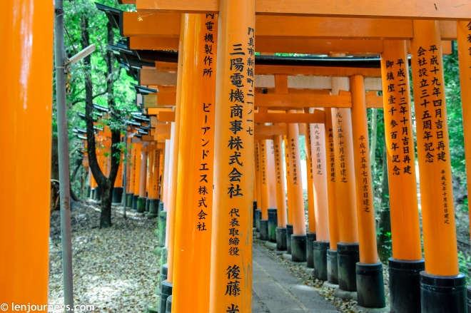Donator's name and date are inscribed on the torii