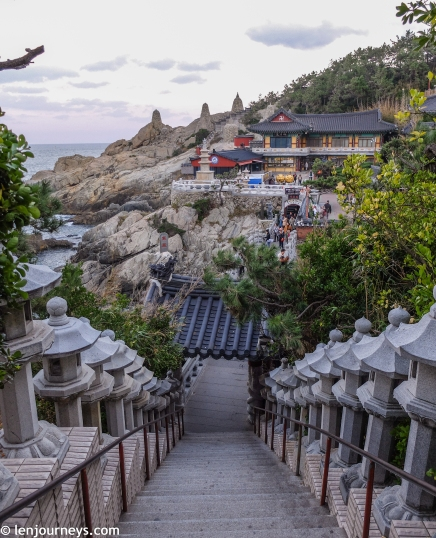 108 stone lanterns lined the path leading to Haedong Yonggungsa Temple