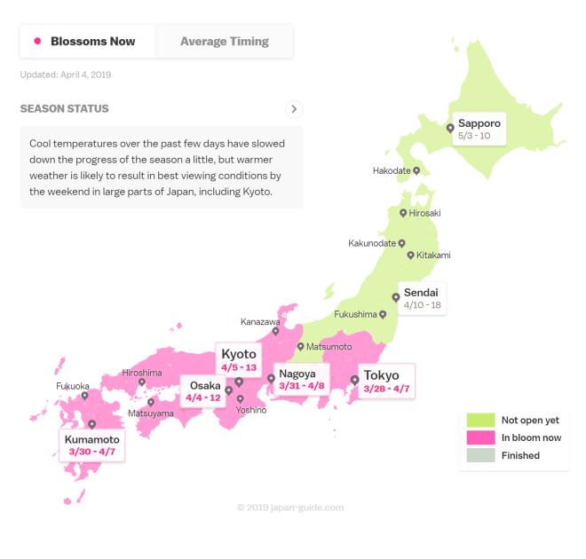 2019 Cherry Blossom Forecast